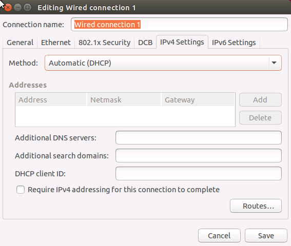 IPv4 settings, Authomatic (DHCP)