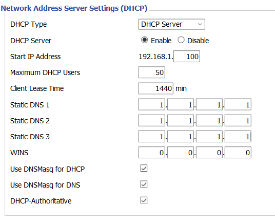 Network Address Server Settings
