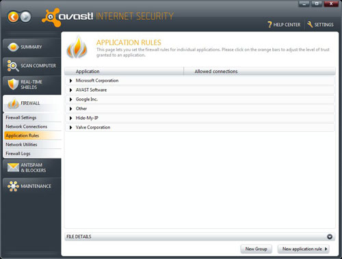 Avast Application Rules, New Group