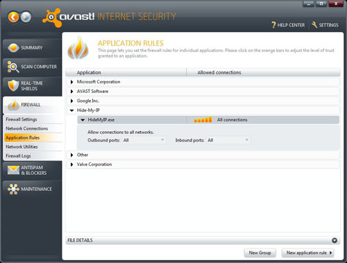 Avast Application Rules, Allow All
