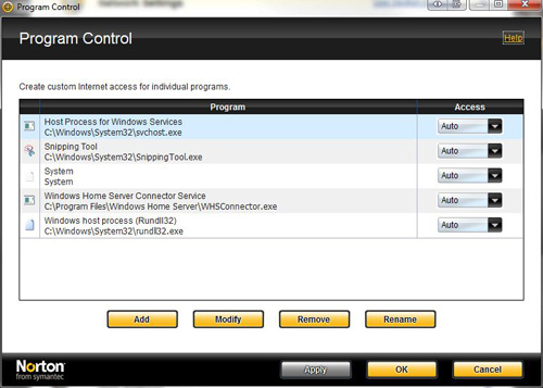 Norton Internet Security, Smart Firewall > Program Control