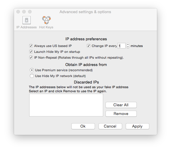 Hide My IP settings window for Mac