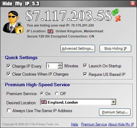 Hide My IP screenshot