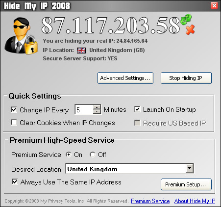 Click to view Hide My IP 2008 screenshots