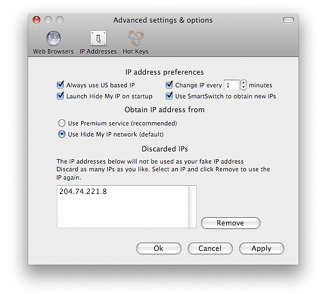 Advanced Settings window for Hide My IP for OS X