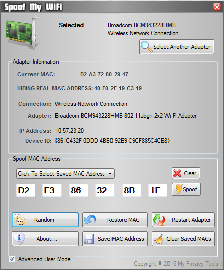 Spoof My WiFi - Hide Your MAC ID